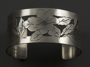 Sterling Silver Magnolia Cuff Bracelet with detailed hand-stampings and pierced cut-outs