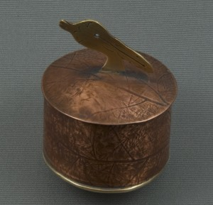 Copper and Bronze Small Metal Box with Pelican Top