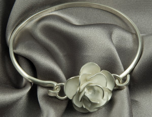 Rose Bangle in Sterling Silver